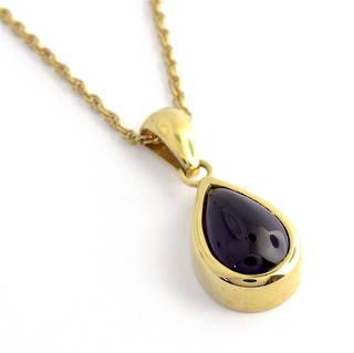 18ct yellow gold British hallmarked teardrop shape cabochon amethyst pendant and chain