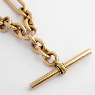 9ct rose gold vintage paperclip chain with hanging T-bar fob