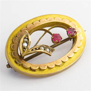 9ct yellow gold synthetic ruby and seed pearl antique brooch