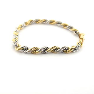18ct yellow gold and platinum twist bracelet
