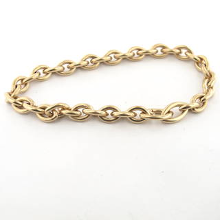 9ct yellow matte gold oval link bracelet