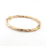 9ct rose gold twist style hinged bangle