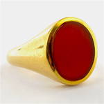 18ct yellow gold british hallmarked carnelian set ring