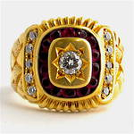 Men's 14ct yellow gold diamond and ruby and cubic zirconia set signet ring