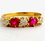 18ct yellow gold synthetic ruby & old cut diamond antique ring