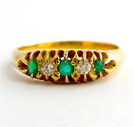 18ct yellow gold antique emerald and diamond ring