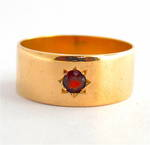 15ct yellow gold antique garnet set wide band