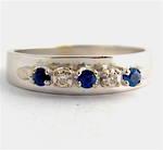 18ct white gold & palladium sapphire and diamond ring