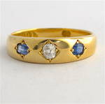 18ct yellow gold antique natural sapphire and diamond dress ring