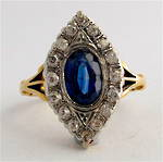 18ct yellow gold and platinum art deco sapphire and diamond ring