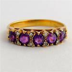 9ct yellow gold amethyst and diamond london bridge style ring