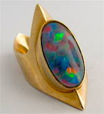9ct yellow gold unique opal triplet ring