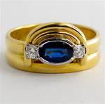 18ct yellow gold ceylonese sapphire & diamond ring