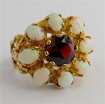 9ct yellow gold vintage garnet and opal dress ring