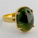 18ct yellow gold green tourmaline ring