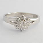 14ct white gold 'flower design' diamond ring