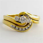 9ct yellow gold set of diamond rings