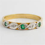 9ct yellow & white gold emerald and diamond band
