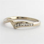 18ct white gold curved diamond band