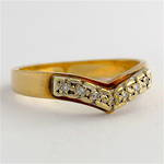 9ct yellow & white gold curved vintage wedding band