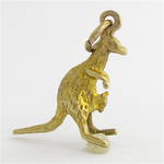 9ct yellow gold Kangaroo and joey charm