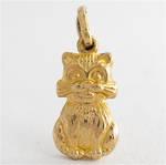 9ct yellow gold cat charm