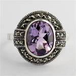 Sterling silver oval amethyst and marcasite ring