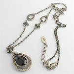 Sterling silver onyx and marcasite vintage style pendant and chain