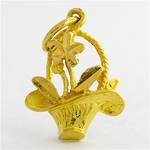 22ct yellow gold flower basket charm