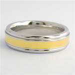 14ct yellow gold and stainless steel band