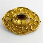 9ct yellow gold antique citrine brooch