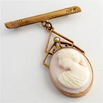 9ct rose gold antique pink cameo brooch