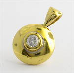 18ct yellow gold bezel set diamond charm