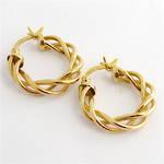 9ct yellow gold twist style hoop earrings