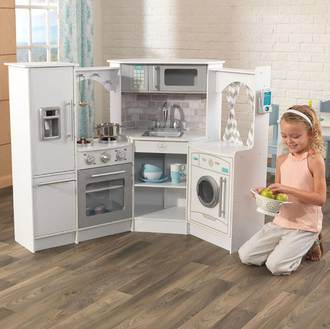 KidKraft Ultimate Corner Kitchen with Lights & Sounds White - FREE DELIVERY