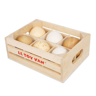 Le Toy Van Farm Eggs Half Dozen Market Crate