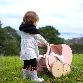Kinderfeets  Doll's Pram Rose 2-in-1 Walker - FREE NZ Delivery