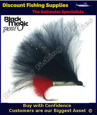 Black Magic Lumo Black Marabou #8 Trout Fly