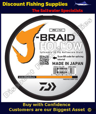Daiwa J Braid Hollowcore 60lb X 750m - Hi-Vis
