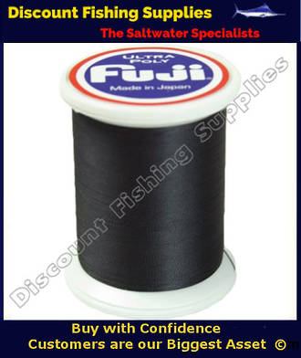 "Fuji Ultra Poly NCOP ""D"" Size Rod Binding Thread 100m Spool - BLACK"