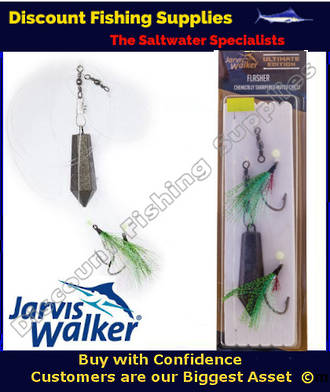 Jarvis Walker Twin Hook Flasher Rig with Sinker 6/0 Chartreuse