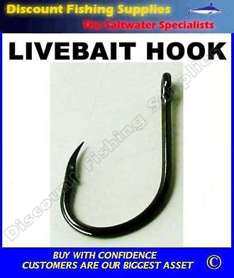 LOHA Bulk Pack - LiveBait Hooks X 100 - Black - All Sizes
