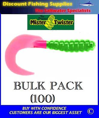 "Mister Twister Curly Tails BULK PACK 4"" Lime/Firetail (100)"
