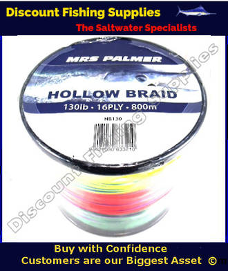 Mrs Palmer HOLLOW CORE RAINBOW BRAID 130lb X 800M (METERED)