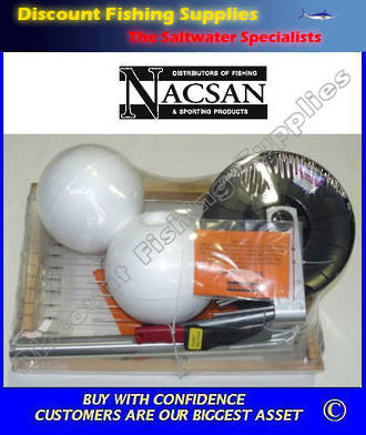 Boat Longline on reel with buoys, weighted grapnels and