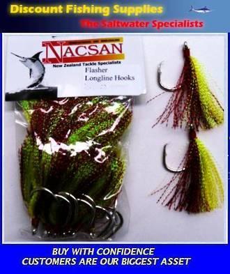 Nacsan Flasher Hooks Red/Green X 25