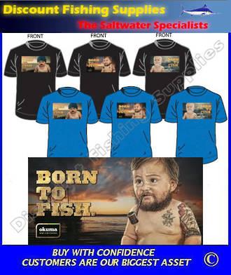 "Okuma ""BORN TO FISH"" Tee Shirt - Pipe Smoking Baby - LARGE"