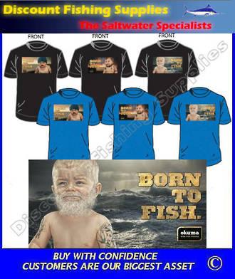 """Okuma """"BORN TO FISH"""" Tee Shirt - White Baby Large"""