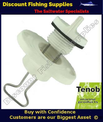 """Tenob 1"""" Fine Thread Drain Plug & Base (White)"""
