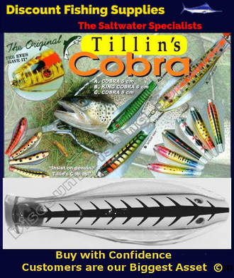 Tillins Cobra Wobbler Lure 19g 3inch Colour 3 with Hook and Bead